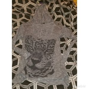 Tops - Tiger see through long sleeve top with hood sz 2x